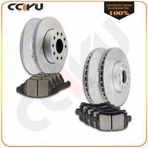 Front Rear Drilled Slotted Brake Rotors Ceramic Pads For Vw Golf Jetta Rabbit