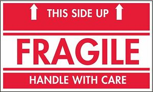 Shipping Labels Fragile This Side Up Legend Paper Adhesive Back 5 Width 3
