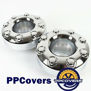 For 05 18 Ford F350 Super Duty Dually Front 4x4 Open Wheel Center Hub Caps 2pcs