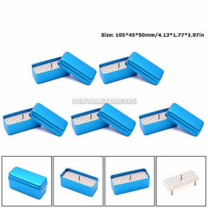 5pcs Dental 72 Holes Bur Holder Endo File Stand Autoclave Disinfection Box Blue