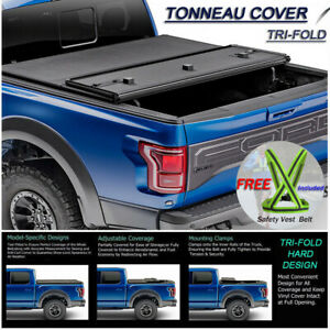 Fits 2015 2019 Ford F150 Lock Hard Solid Tri Fold Tonneau Cover 8ft Long Bed