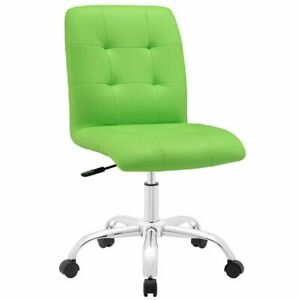 Modway Prim Faux Leather Mid Back Swivel Office Chair In Bright Green