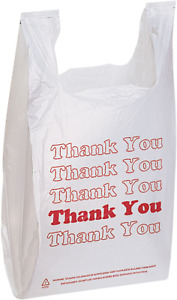 1000 Ct t Shirt Thank You Plastic Shopping Bags Grocery Store Carry Out Large