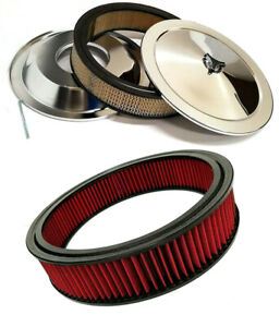 14 Chrome Air Cleaner Kit Breather Filter Recessed Base Bonus Washable Filter