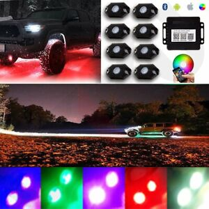 8pcs Led Rock Light Tail Lights Wireless Bluetooth Rgb Color Under Off Road Car