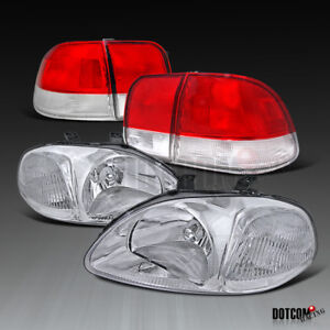 For 1996 1998 Honda Civic 4dr Sedan Clear Head Lights Red Clear Tail Brake Lamps