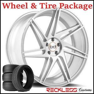 22 Blaque Diamond Bd1 Concave Silver Wheels And Tires Fits Ford Edge