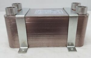 100 Plate Water To Water Plate Exchanger 1 1 4 Fpt Ports W brackets