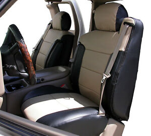 Chevy Silverado 2003 2006 Black beige S leather Custom Front Seat 2arm Cover
