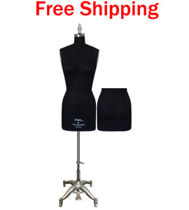 Professional Dress Form With Hip And Collapsible Shoulders Ladies Black Size 8