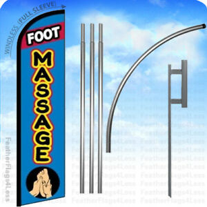 Massage Windless Swooper Feather Flag 15 Kit Manicure Salon Banner Sign Pf