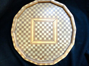 Ant Incredible Inlaid Wooden Tray Small Checkerboard Pattern Round Estate Ite