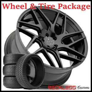 22 Blaque Diamond Bd3 Concave Black Wheels And Tires Fits Dodge Charger