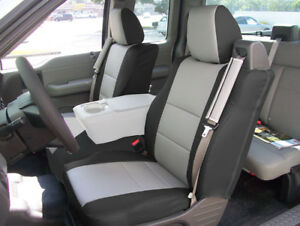 Ford F 150 04 08 S leather Front Custom Seat Cover Built In Seatbelt Black grey