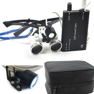 Us Set Black Dental Surgical Binocular Loupes 2 5x 420mm led Head Lamp Case