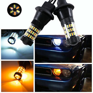 Dual color White amber 7440 7443 Switchback Led Bulbs Drl Turn Signal Light Lamp
