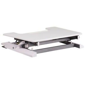 28 25 w White Sit Stand Height Adjustable Desk With Height Lock Feature