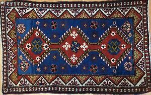 Perfect Persian 1940s Antique Yalameh Rug Tribal Oriental Carpet 1 10 X 3 Ft