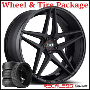 22 Blaque Diamond Bd8 Concave Black Wheels And Tires Fits Ford Edge