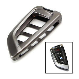 Premium Gun Metal Grey Alloy Metal Key Fob Cover Case For 14 Up Bmw X5 15 Up X6