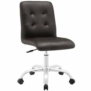 Modway Prim Faux Leather Mid Back Swivel Office Chair In Brown
