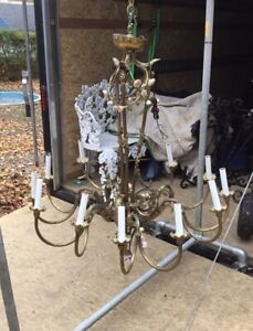 Massive Vintage Antique Bronzed 12 Light Hanging Chandelier W Porcelain Flowers