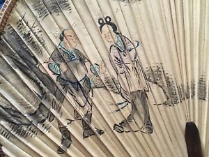 A Set Of 3 Antique Chinese Painting Bamboo Fans