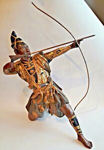 Japanese 19th Century Samurai Archer Statue Bronze And Inlaid Gold