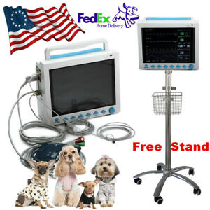 Portable Vital Signs Vet Icu Ccu Veterinary Patient Monitor Rolling Wheel Stand