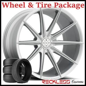 20 Blaque Diamond Bd11 Concave Silver Wheels And Tires Fits Dodge Charger