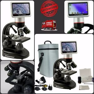 Digital Microscope With 5 Mp Lcd Achromatic Lenses 4gb Sd Card Carrying Case