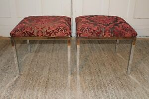 Vintage Pair Spancraft Designer Chrome Upholstered Benches Ottomans Stools