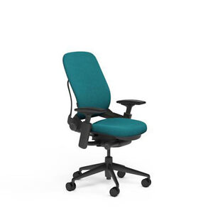 New Steelcase Adjustable Leap Desk Chair Buzz2 Cyan Fabric Seat Black Frame