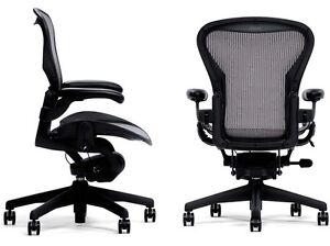 Genuine Herman Miller Aeron Basic Graphite Carbon Chair Medium Size B Warranty