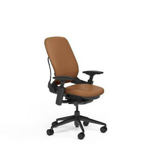 New Steelcase Adjustable Leap Desk Chair Camel Leather Seat Black Frame