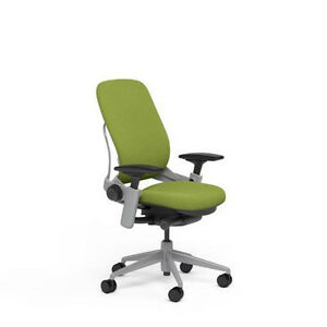 New Steelcase Adjustable Leap Desk Chair Buzz2 Meadow Fabric Seat Platinum Frame