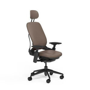 New Steelcase Adjustable Leap Desk Chair Headrest Rocky Leather Black Frame