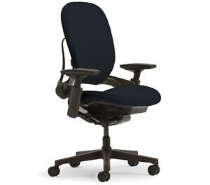 New Steelcase Leap Chair Adjustable V2 Buzz2 Black Fabric Desk Seat Black Frame