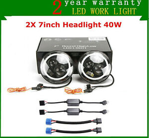2x 7 40w Round Led Headlight Hi lo Halo Angel Eye For Jeep Wrangler Jk Cj Tj Lj