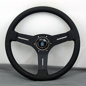 Nardi Competition Steering Wheel 330mm Black Leather Black Classic Horn