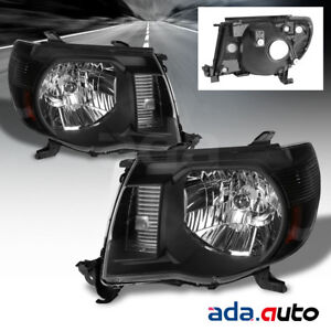 For 2005 2011 Toyota Tacoma Factory Style Black Headlights 2007 2008 2009 2010