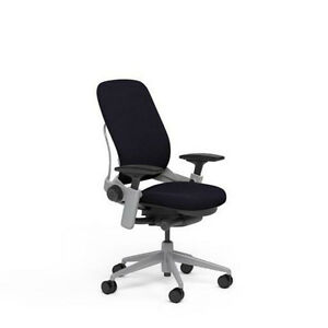 New Large Steelcase Leap Plus Adjustable Chair Buzz2 Black Fabric 500lb Platinum