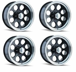 Set Of 4 171 16x8 6x139 7 Black machined Lip Chevrolet Gmc Dodge Jeep Wheels
