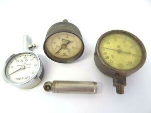 Antique Vintage Lot Us Gauge Co Parker Tru flate Schrader Balloon Tire Gauges