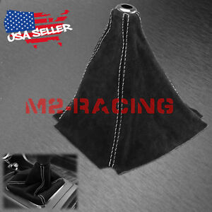 Genuine Leather Velvet Suede Shift Knob Boot Cover Black With White Stitches