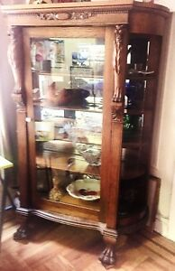 Antique 1880s Original Oak Claw Foot China Cabinet Gorgeous Carved Detailing