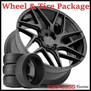 20 Blaque Diamond Bd3 Concave Black Wheels And Tires Fits Ford Mustang Gt Gt500
