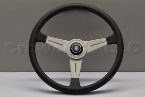 Nardi Personal Classic Steering Wheel 390mm Black Leather With White Spokes