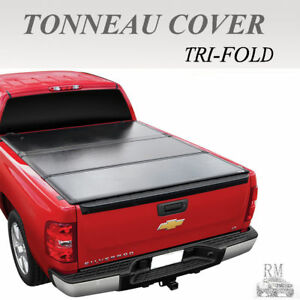 Lock Tri Fold Hard Solid Tonneau Cover Fit 2007 2013 Chevy Silverado 8