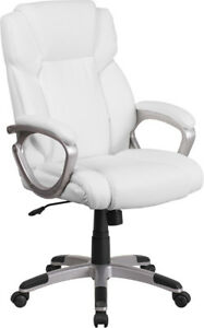 Black Or White Leather Swivel Tilt Executive Home Office Desk Computer Chairs